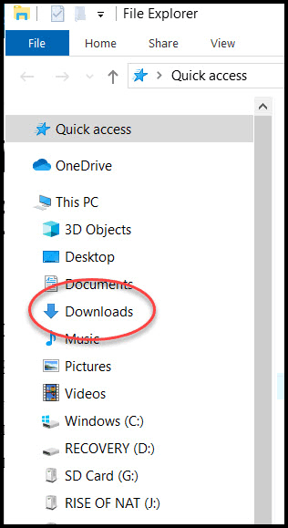 Showing downloads folder with file explorer